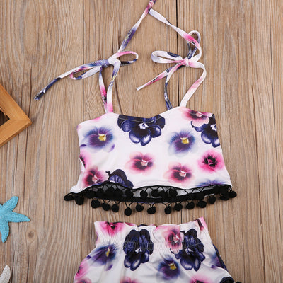 Newborn Baby Girls Clothes Floral Tassel Vest Tops Triangle shorts Shorts Pants Outfits Baby Clothing