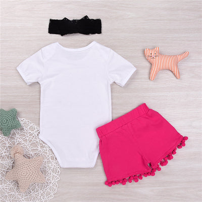 Summer Newborn Baby Girls Letter Printed  Romper+ Sequins Pants Shorts Bow Headband Outfits Clothes