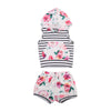 Baby Clothing Kids Baby Girl Sleeve Striped Patchwork Hoodie Tops Floral Shorts Outfits Set Clothes
