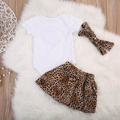 Cotton Newborn Baby Girls Tops Love Heart  Romper Leopard Skirt Headband Outfits Clothes