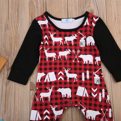 Newborn Kids Baby Boy Girl Deer Long Sleeve Clothes Jumpsuit Romper Bodysuit Outfit