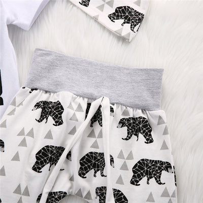 Autumn baby clothes set Kid baby boys girls Cotton Tops Romper Deer Leggings Pants Set Clothing