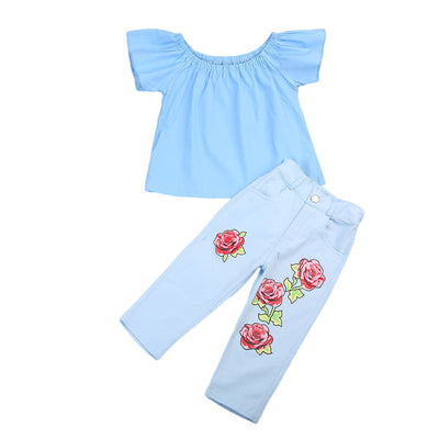 2Pcs Kid Baby Girl Outfit Off Shoulder Shirt T-shirt Long Pants Jeans Clothes