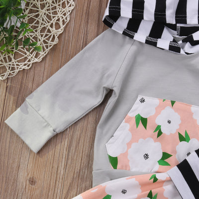 Baby Clothing Toddler Kids Baby Girl Floral Striped Hoodie Tops Pants Leggings Outfits Set Clothes