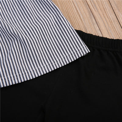 Kid Baby Girl Off Shoulder Tops T-Shirt Striped Print Black Pants Outfits Kid Casual Clothing
