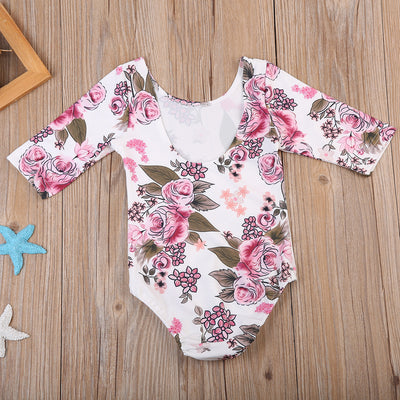Princess Kids Baby Dance Clothes Girls Floral Romper Back Deep V-neck Jumpsuit Sun suit Outfits Baby Clothing