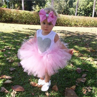 Newborn Infant Baby Girls Clothes Sleeveless Heart Bodysuit Romper Skirt Headband 3pcs Outfit Kids Clothing Set