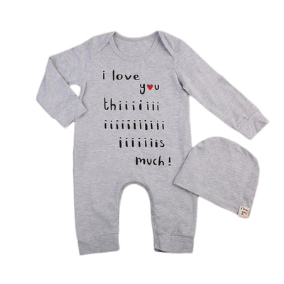 Baby Clothing Toddler Infant Baby Boy Girl Cotton Letter Long Sleeve Romper Jumpsuit Hat Outfit Clothes