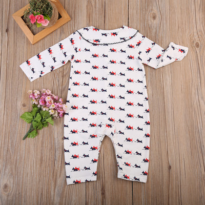 Newborn Infant Baby Boys Girls Dogs Romper Turn-down Collar Long Sleeve Jumpsuit Outfits Clothes