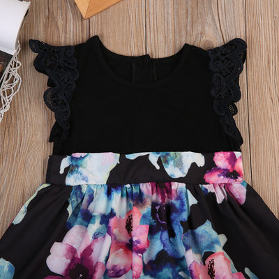 Family Matching Outfits Mother Daughter Matching Girl Women Party Floral Lace Dress Clothes Outfit