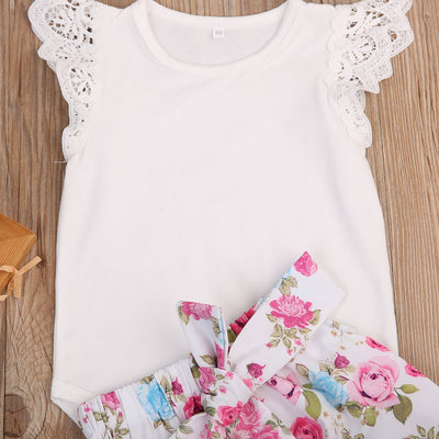 Newborn Toddler Baby Girl Lace Tops Romper +Floral Pants +Bow Headband Outfit Clothes