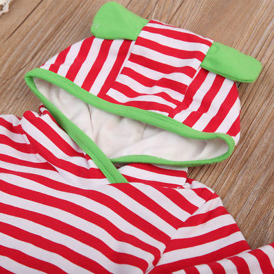 Newborn Baby Girl Boy Clothing Striped Rabbit Ear Long Sleeve Hooded Top +Long Pants Outfits Clothes