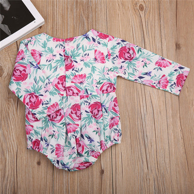 Newborn Baby Girls Flower Romper Back Button Jumpsuit Outfits Clothes Sun suit