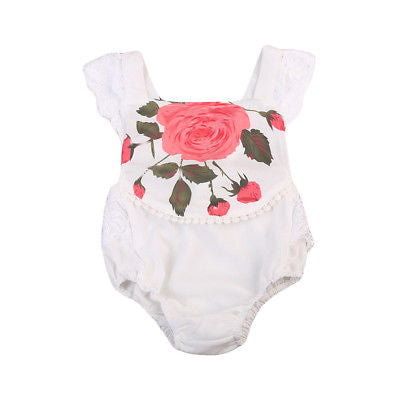 Newborn Baby Girl Rose Print Romper Lace Outfits Flying Sleeve Jumpsuit Baby Clothes