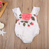 born Baby Girl Rose Print Romper Lace Outfits Flying Sleeve Jumpsuit Baby Clothes