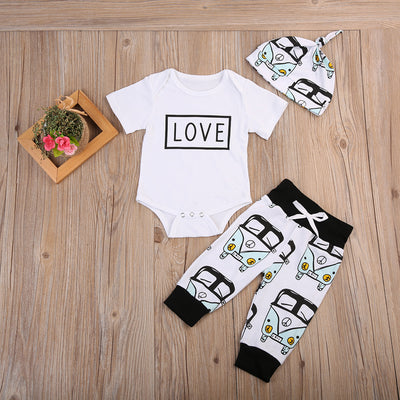 Baby Clothing Cute Toddler Baby Summer Clothes Outfits Love Romper Top bus Floral Legging Hat