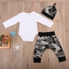 Baby Clothing Kids Baby Boys Arrow Long Sleeve Romper Long Harem Pants Hat Outfits Clothes