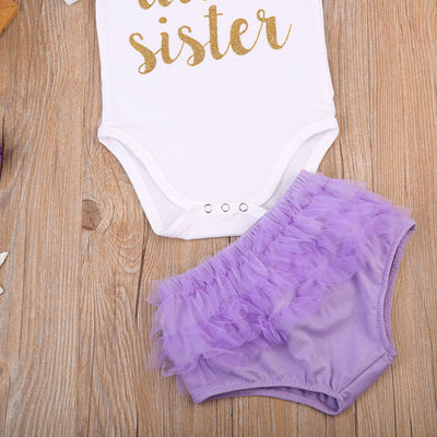 Newborn Baby Girl  Letter Jumpsuit Romper Lace Briefs Pants Outfit Clothes
