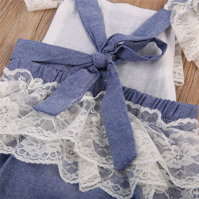 Baby Clothing Cute Newborn Baby Girls Lace Denim Romper Back Cross Jumpsuit Outfits Sun suit