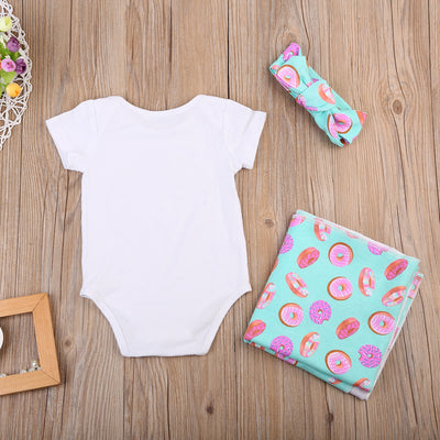 Newborn Infant Baby Boys Girls Donuts Short Sleeve Romper Swaddle Headband Outfits