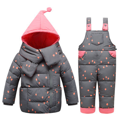 ff4ce5d1c Baby Girls Down Jackets Kids Snowsuit Children clothing Sets Warm baby down Jackets  Outerwear Coat+