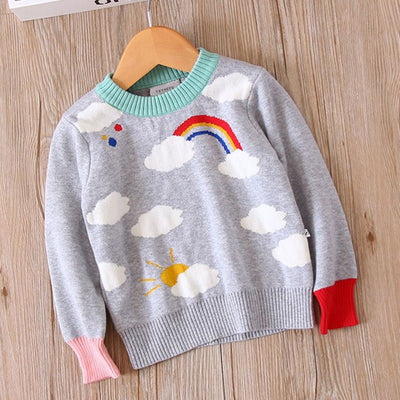 Autumn Girls Sweater cute cloudy children Winter Clothing Baby Kids Cotton Long Sleeve Sweater