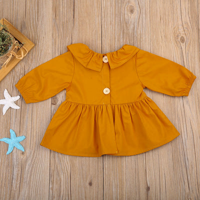 Baby Girls Ruffles Long Sleeve Tops Turn-down Collar T-shirt Outfit Clothes Baby Clothing