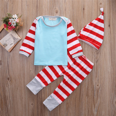 Newborn Baby Boys Clothes Set T shirt Tops Cute striped Bodysuit Pants Trouser Hat Outfit Clothes Set