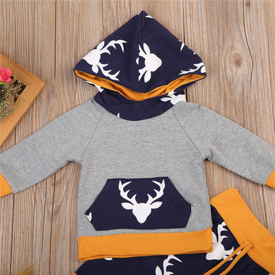 Newborn Baby Boy Girl Deer Hooded Tops Pants Legging Outfits Clothes
