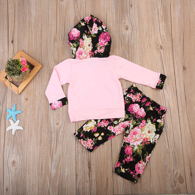 Newborn Baby Girls Spring Autumn  Floral Hooded Tops Pants Leggings Outfit Clothes