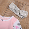 Newborn Baby Girls Pink Arrow Romper Long Sleeve Jumpsuit Clothes Outfits Headband