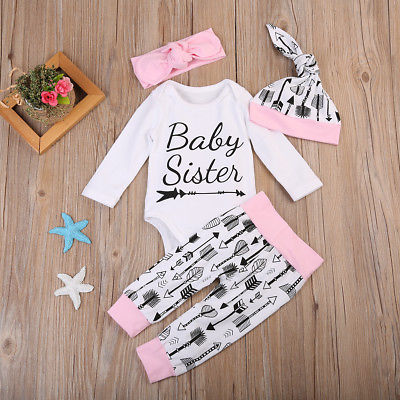 Newborn Infant Baby Girls Romper Tops+ Arrow Pants Legging+Hat Outfits Set Clothes