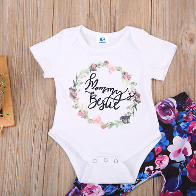 Newborn Baby Girl Clothes Letter Short Sleeve Jumpsuit Romper + Flower Pants Outfits