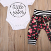born Baby Girl Floral Outfits Kids Romper Long Pants Hat Costume