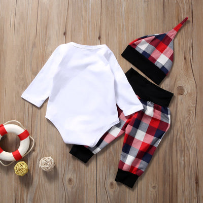 Newborn Baby Boys Girls Long Sleeve Tops Romper +Plaid Pants +Hat Home Outfits Baby Clothing