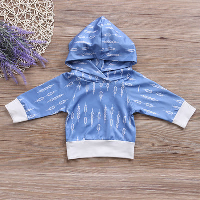 Baby Boys Girls Arrow T-shirt Long Sleeve Hoodie + Pants Outfit Set Clothes Baby Clothing