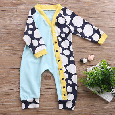 Newborn Baby Boy Girl Long Sleeve Dot Romper Patchwork Jumpsuit Single Breasted Clothes Outfit
