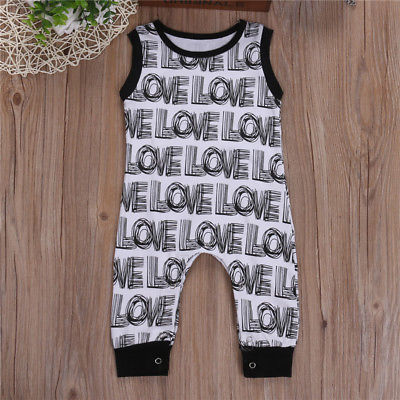 Newborn Baby Boys Girls Love Romper Sleeveless Jumpsuit Outfits Baby Clothing
