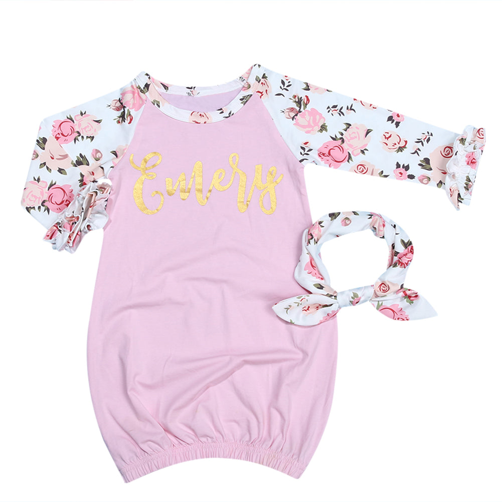 2pcs Baby Infant Girls Pink Printing Long Sleeve Sleeper Gown+ ...