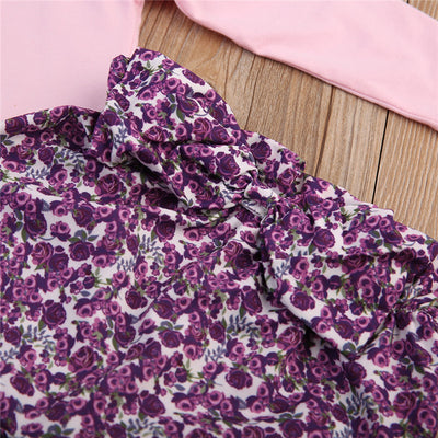 Newborn Baby Girls Long Sleeve ruffles T-shirt Tops +Floral Pants Leggings Outfits Clothes Baby Clothing