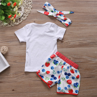 Children Clothing Toddler Kids Baby Girls Floral Tops+Pants+Headband Outfits Clothes