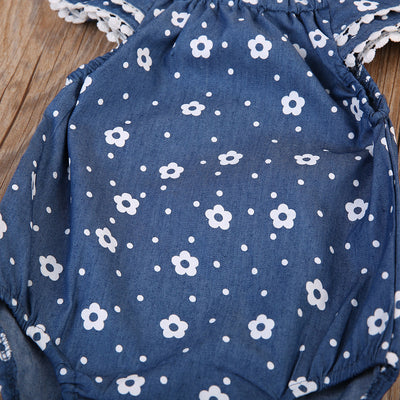Newborn Baby Girl Kid Denim Polka romper Newborn Baby Girls Lace ruffles Sleeve Clothes Romper Jumpsuit Outfits