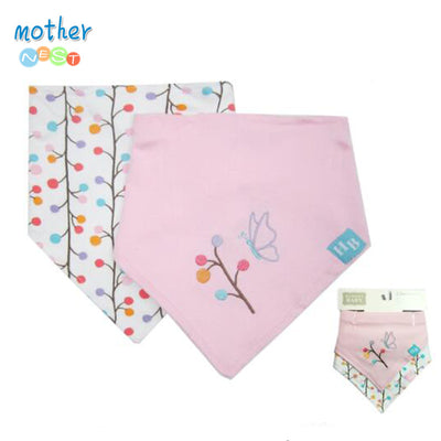 Baby Bibs Cotton Double Layers Butterfly Pattern Bib Child Boys &Girls Triangle Bibs Infant Towel