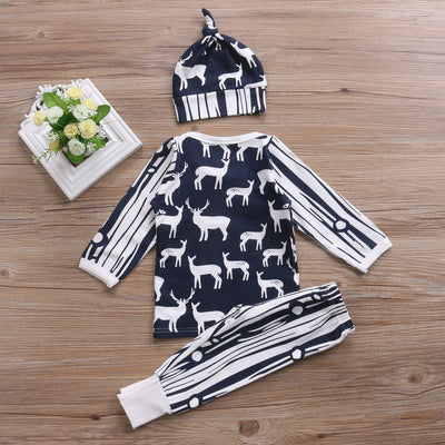 Newborn Baby Clothing  Baby Boys Long Sleeve Deer Tops+Pants Leggings Hat Outfits Clothes