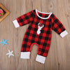 Baby Girl Boy Red Check Long Sleeve Romper Jumpsuit Cotton Christmas Outfits