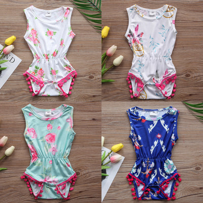 Newborn Baby Boys Girls Flower Romper Sleeveless Tassel Jumpsuit Outfits Clothes Baby Clothing
