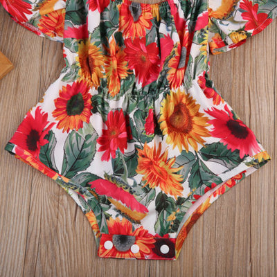 Sunflower Baby Girls Clothes Newborn ruffles Sleeve Jumpsuit Clothes Sun suit Outfits