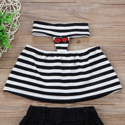 Kid Girls Clothing Set Fashion Kids Girls Stripe Halter Tops Hole Flower Pants Leggings Outfits Clothes