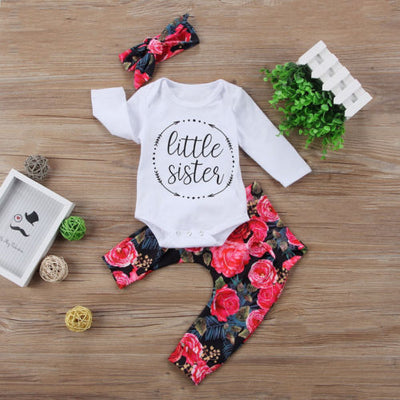 Newborn Toddler Baby Girls Tops Letter Romper +Flower Pants +Bow Headband Outfits Set Clothes