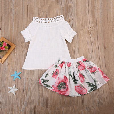 Kid Girls Clothing Toddler Baby Girls Hollow Out T-shirt Tops Floral Skirt Summer Outfits Clothes